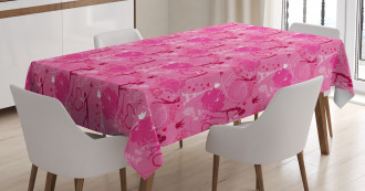 Fairy Women Pink Hearts Tablecloth