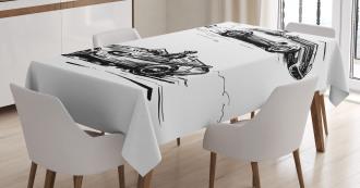 Racing Vehicles Sketch Tablecloth