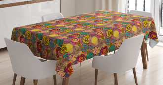 Colorful Rose Blossoms Tablecloth
