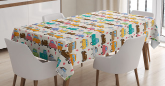 Vintage Cars Little Hearts Tablecloth