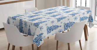 Abstract Blue Trees Snow Tablecloth