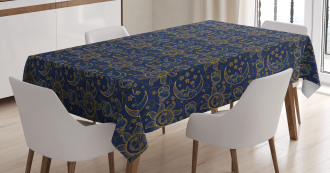 Vintage Doodle Style Star Tablecloth