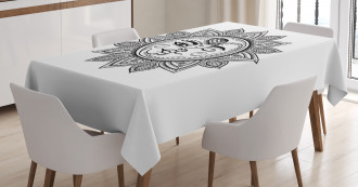 Monochrome Astrology Motif Tablecloth