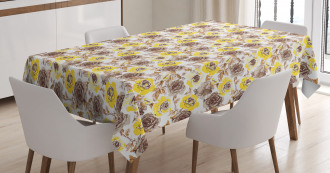 Grungy Roses Romantic Tablecloth