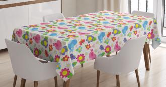 Birds Hearts Butterflies Tablecloth