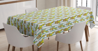 Vertical Lines Flowers Tablecloth