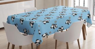 Cute Panda Kicking Ball Tablecloth