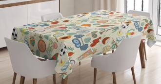 Cartoon Style Elements Tablecloth