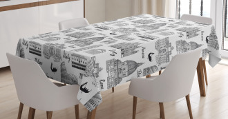 Monochrome Sketch Italy Tablecloth