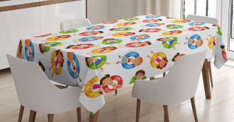 Children in Pool Summer Tablecloth