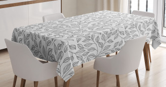 Monochrome Floral Rustic Tablecloth