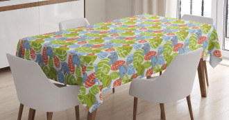 Asian Animals Leaves Tablecloth