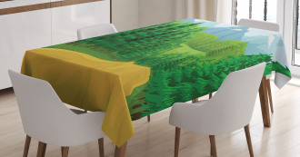 Green Landcape Design Tablecloth