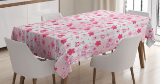 Stuffed Rabbit Toy Flower Tablecloth