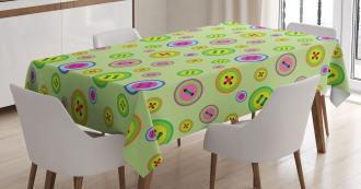 Abstract Button Pattern Tablecloth