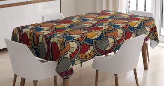 Abstract Paisley Motifs Tablecloth