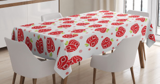 Curved and Dotted Fruit Tablecloth
