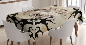 Ancient Viking Silhouette Tablecloth