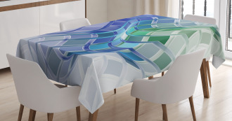 Abstract Wavy Squares Tablecloth