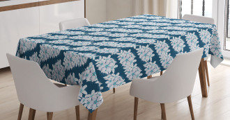 Flowers on Blue Tablecloth