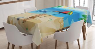 Cartoon Coast Pattern Tablecloth