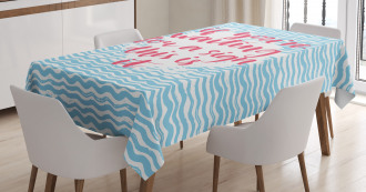 Calligraphy Blue Waves Tablecloth