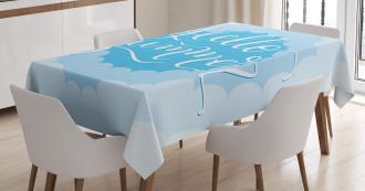 Vintage Blue Cloud Tablecloth