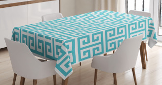 Blue and White Fret Tablecloth