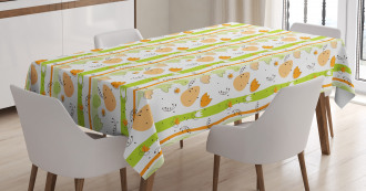 Cartoon Flower Stripe Tablecloth