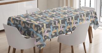 Arch Shape Curvy Pastel Tablecloth