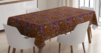 Wave Doodle Spirals Tablecloth