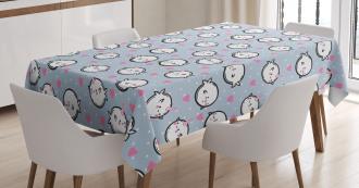Cute Cartoon Whales Tablecloth