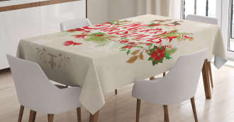 Floral Merry Xmas Tablecloth