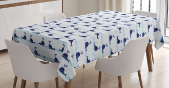 Cute Blue Fish on Water Tablecloth