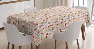 Presents Hearts Dots Tablecloth