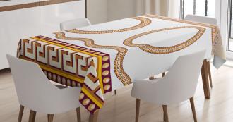 Fret Borders Circles Tablecloth