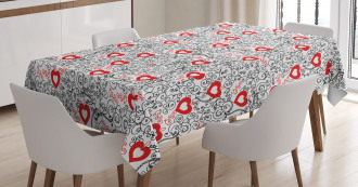 Romantic Hearty Icons Tablecloth