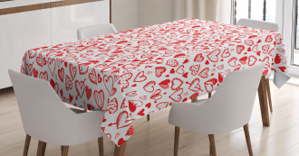 Red and White Sketch Tablecloth
