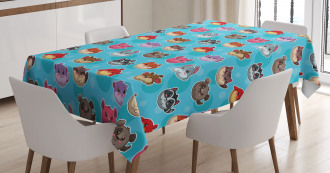 Cute Cartoon Style Animals Tablecloth