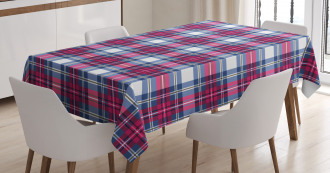 Pink and Blue Tartan Tablecloth