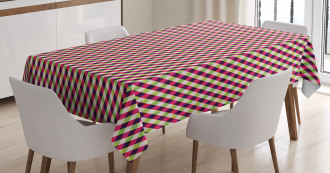 Grid Chevron Zigzags Tablecloth