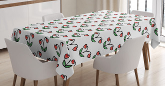 Sketch Heart Shaped Berry Tablecloth