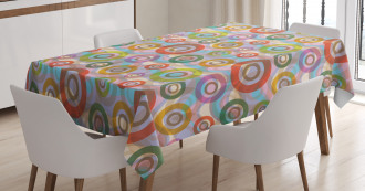 Hippie Colorful Circles Tablecloth