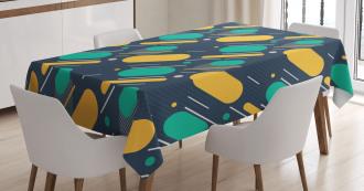 Lines Circles Colors Tablecloth