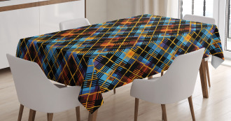 Modern Geometric Tartan Tablecloth