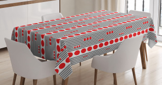 Black Stripes Circles Tablecloth