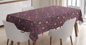 Cartoon Cheerful Sheep Tablecloth