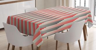 Retro Bicolor Striped Tablecloth