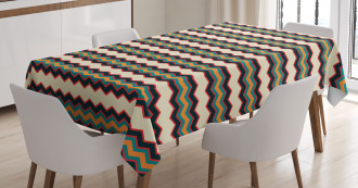 Retro Zig Zag Borders Tablecloth
