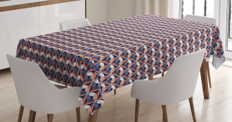 Wavy Lines Circles Dots Tablecloth